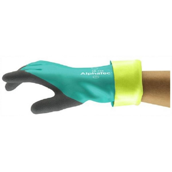 1 Pair Ansell AlphaTec 58-735 Green Nitrile Cut Proof 4 Gloves Size 9 L-0