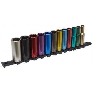 """Sealey AK2873D Multi-Coloured Socket Set 12pc 3/8""""Sq Drive 6pt Deep WallDrive® Metric-0"""