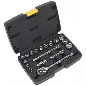 "Siegen S0911 Socket Set 18pc 3/8""Sq Drive 6pt WallDrive® Metric-0"