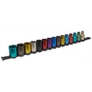 """Sealey AK2874 Multi-Coloured Socket Set 15pc 1/2""""Sq Drive 6pt WallDrive® Metric-0"""