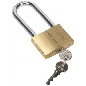 Siegen S0991 Brass Body Padlock with Brass Cylinder Long Shackle 60mm-0