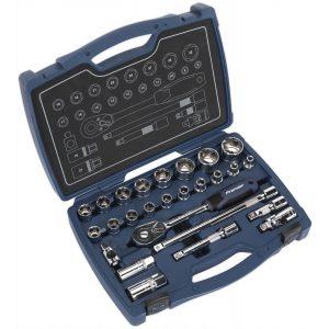 """Sealey AK8992 Socket Set 26pc 1/2""""Sq Drive 6pt WallDrive® Metric-0"""