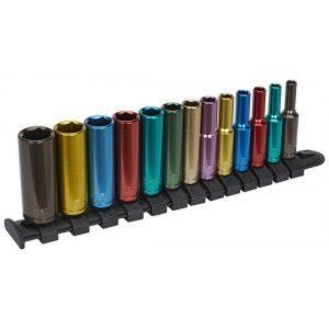 """Sealey AK2872D Multi-Coloured Socket Set 13pc 1/4""""Sq Drive 6pt Deep WallDrive® Metric-0"""