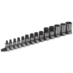 """Sealey AK618B TRX-Star* Socket Set 14pc 1/4"""", 3/8"""" & 1/2""""Sq Drive E4-E24 Black Series-0"""