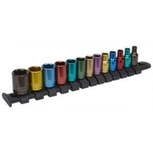 """Sealey AK2872 Multi-Coloured Socket Set 13pc 1/4""""Sq Drive 6pt WallDrive® Metric-0"""