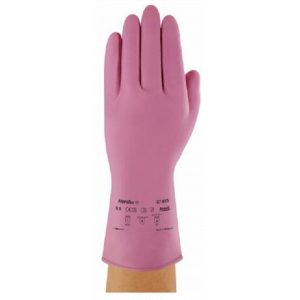 Ansell AlphaTec 87-085 (Marigold G12P) Pink Latex Rubber Gloves-0