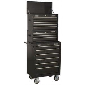 Sealey AP22BSTACK Topchest, Mid-Box & Rollcab 14 Drawer Stack - Black-0