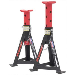 Sealey AS3R Axle Stands (Pair) 3tonne Capacity per Stand - Red-0