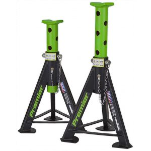 Sealey AS6G Axle Stands (Pair) 6tonne Capacity per Stand - Green-0