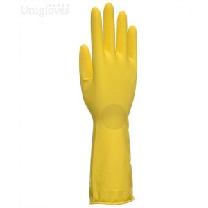 Unigloves Allsafe Yellow Latex Household Rubber Gloves-0