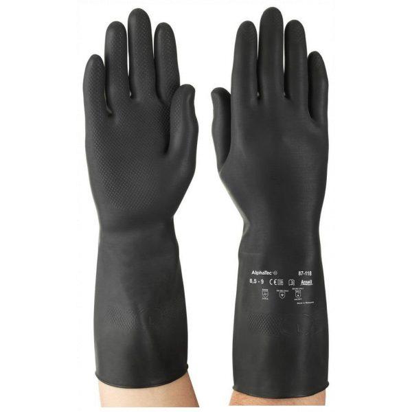 Ansell Marigold AlphaTec 87-118 (G17K) Black Latex Gloves-0