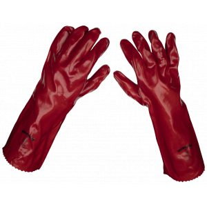 Sealey 9114/B120 Red PVC Gauntlets 450mm - Pack of 120 Pairs-0