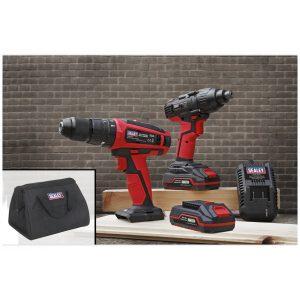 "Sealey CP20VDDCOMBO 20V Cordless Ø13mm Hammer Drill/1/4""Hex Drive Impact Driver Combo Kit-0"
